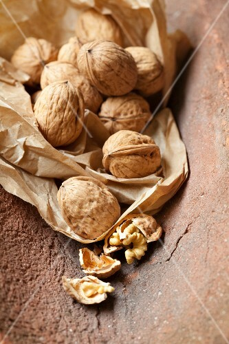 Walnuts on a piece of paper