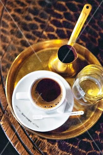 Turska Kafa (Serbian mocha) in a coffee house in Belgrade, Serbia