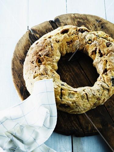 A homemade bread wreath
