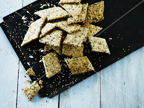 Homemade sesame seed crackers (seen from above)