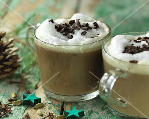 Coffee with Christmas spices and grated chocolate