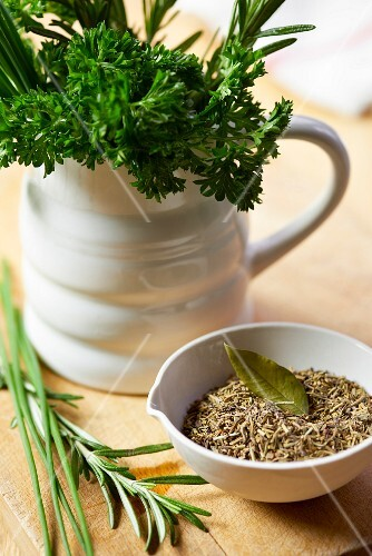 Parsley, rosemary, chives and mixed dried herbs