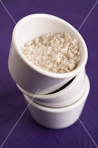 Chardonnay fleur de sel in a white bowl