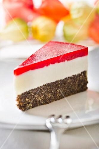 A slice of creamy poppyseed cake
