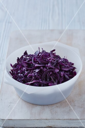 Red cabbage braised in red wine and vinegar