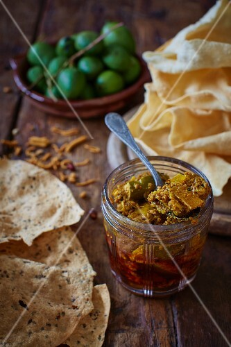 Indian mango pickle with poppadoms