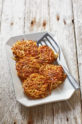 Root vegetable fritters with thyme and mustard