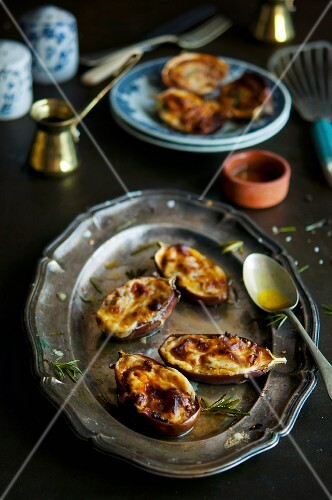 Stuffed aubergines with rosemary