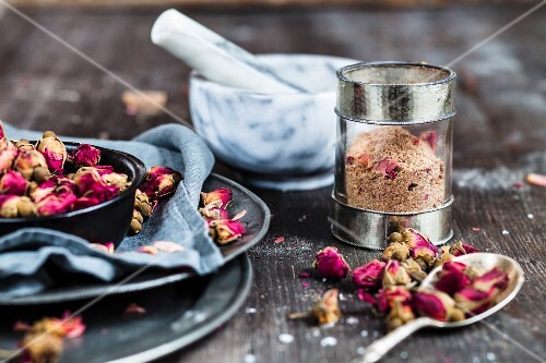 Advieh (Persian spice mixture with dried roses) in a jar