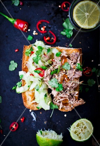 Pulled pork with cucumber, chillis and coriander on toast