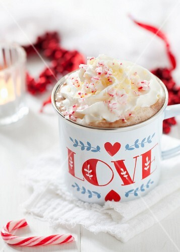 Hot chocolate with cream and candy cane splinters