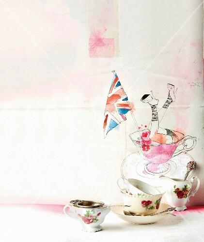 Still-life arrangement with English tea