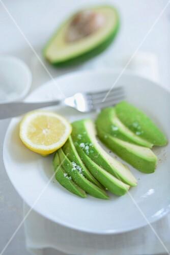 Avocado with salt and lemon