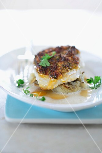 Fried pollack with a herb and nut crust