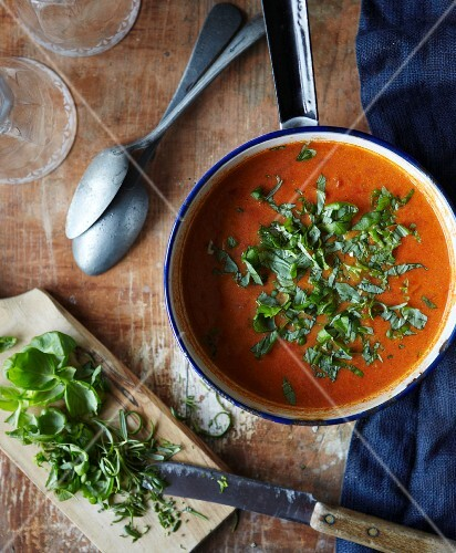 Tomato soup with rosemary and basil