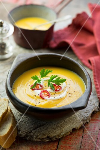 Pumpkin and parsnip soup with chilli rings