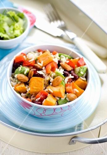 Roast sweet potato salad with rice and almonds