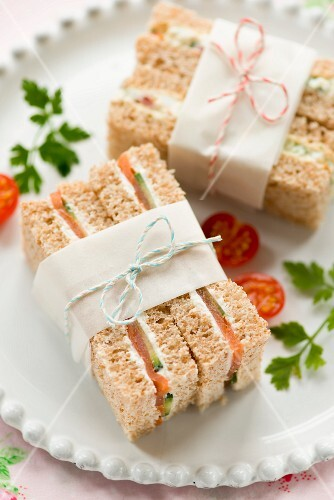 Salmon, cream cheese and cucumber sandwiches to take away