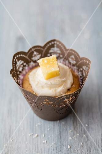 A coconut muffins with pineapple