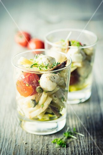 Pasta salad with anchovies and tomatoes
