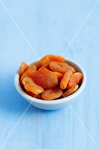 A dish of dried apricots