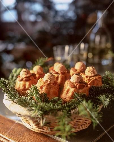 Brioche with foie gras in a basket with pines sprigs