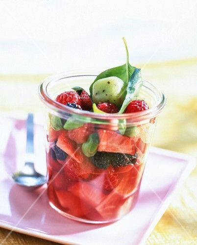 A summer berry salad with kiwi