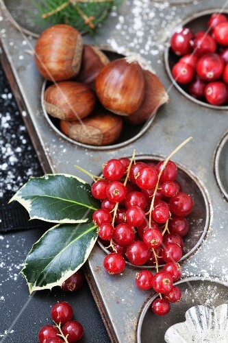 Cranberries, redcurrants and chestnuts in a vintage baking tray