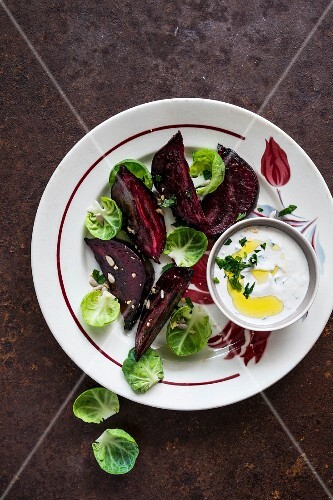 Roasted beetroot with a yoghurt sauce