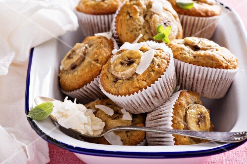 Banana muffins with coconut milk and coconut flakes