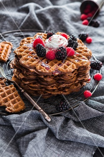 Waffles with cream and berries
