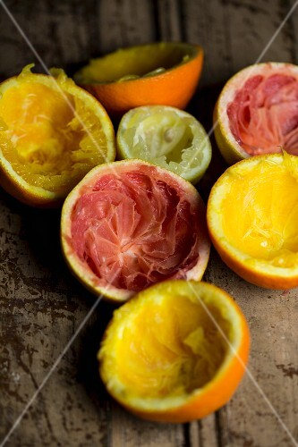 Skins of juiced citrus fruits