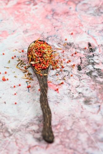 Supari Pan Masala (Indian spice mixture) on a wooden spoon