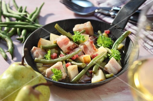 Pears, bacon and beans