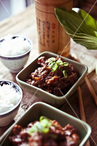 Slow roasted Schezuan beef brisket with rice and bok choy (China)