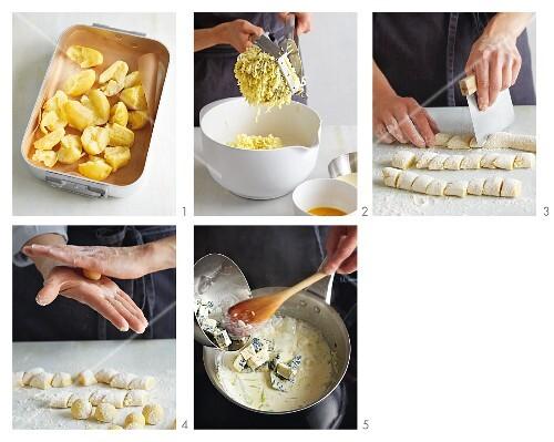 Gnocchi with gorgonzola sauce being made