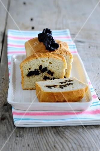 Plum bread, sliced