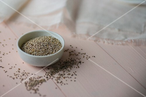 Chia seeds in a white bowl