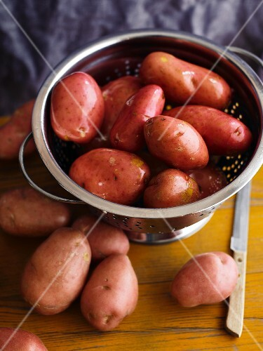 Wet potatoes in a colander