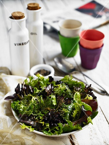 A green salad made from various lettuce leaves