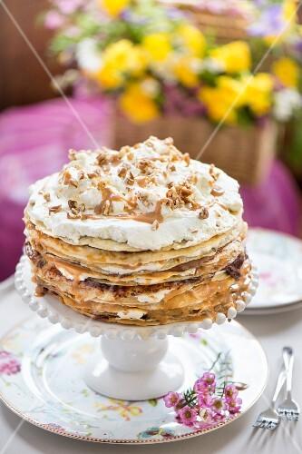 A pancake cake for a spring brunch