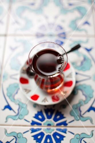 Turkish tea in a tea glass