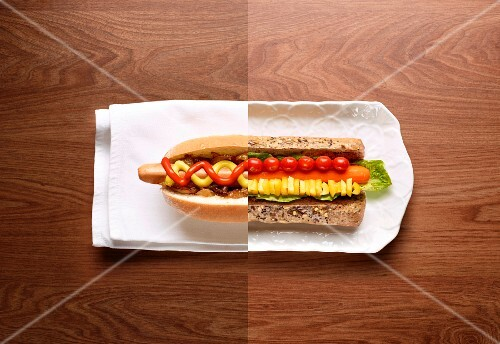 Half a hot dog and half a vegetable sandwich (photo collage)