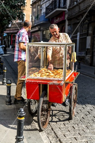 A man selling pastries on the street in Istanbul, Turkey