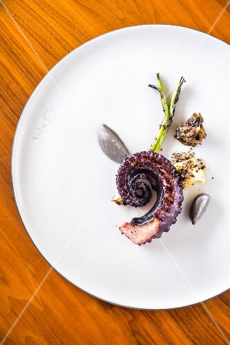 Restaurant Nicole: grilled squid with aubergine purée, Istanbul, Turkey