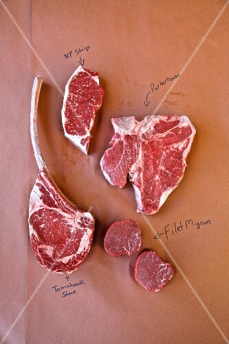 Various cuts of beef on a piece of brown paper