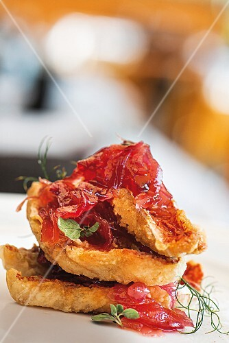 Sour pickled red mullet with caramelised onions