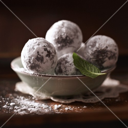 Mint truffles rolled in icing sugar
