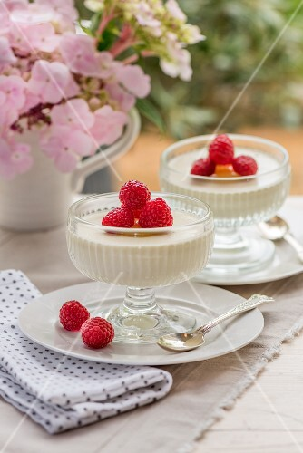 Panna cotta with raspberries on a garden table