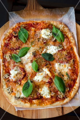 A pizza with tomatoes, mushrooms, mozzarella and basil